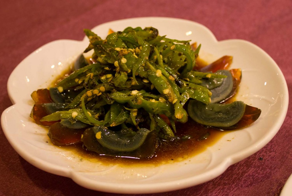 Preserved eggs and chilli peppers, Sichuan style.