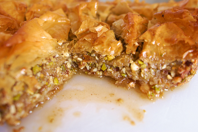Baklava, covered in honey goodness.