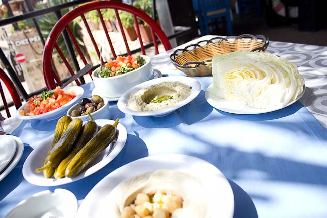 Selection of mezze at Pepe Fishing Club, Byblos.