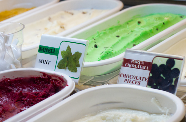 Mint, chocolate and almond flavoured ice creams.