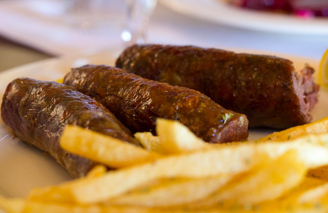 Loukanika (country sausages) at Sto Kioupi, Greece.