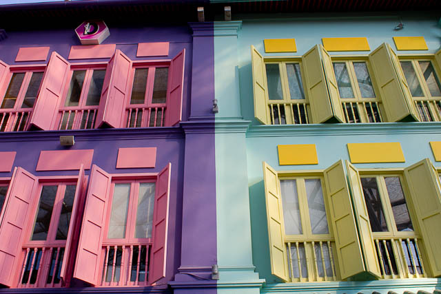Brightly coloured houses in Clarke Quay, Singapore.
