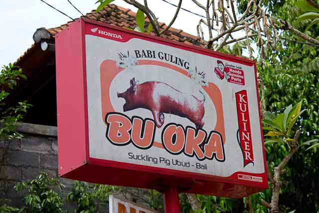 "The sign for Ibu (""Bu"") Oka in Ubud, Bali."