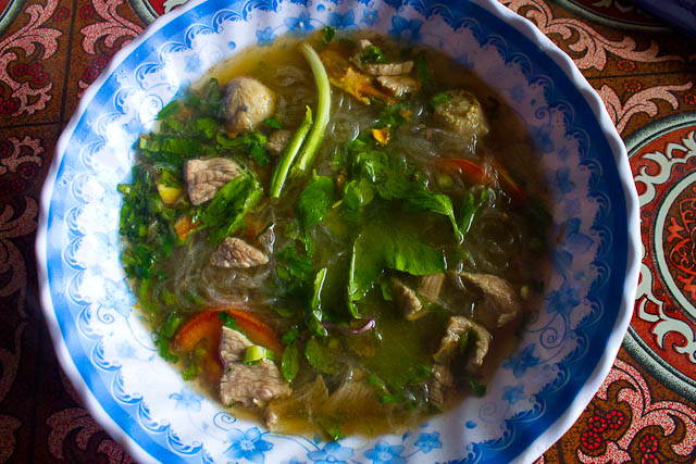 Lao feu noodle soup.