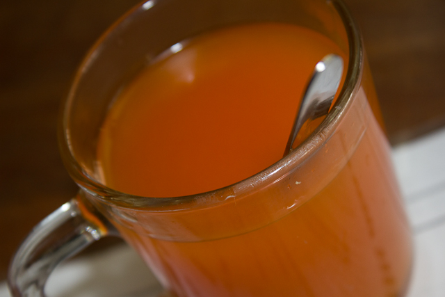 Cup of hot sea buckthorn juice.