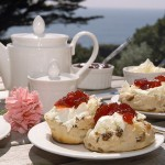 Cornish cream tea, with scones, jam and clotted cream. And teapot!