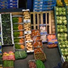 Fruit and vegetables stacked up at New Covent Garden Market, London.