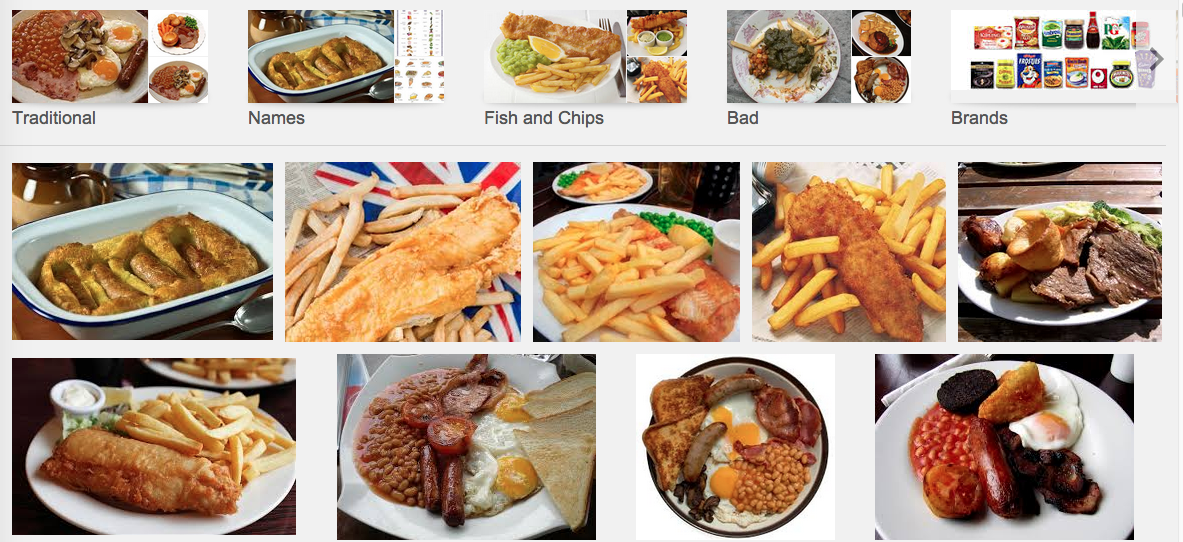 Google Images' take on British food.