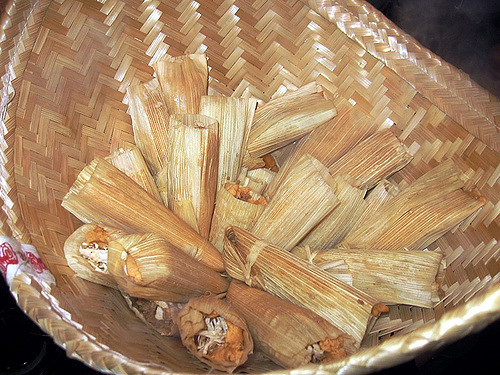 A basket of fresh tamales