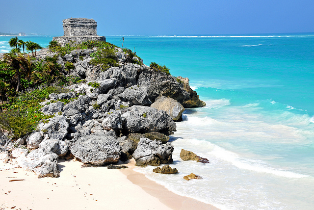 The temple of the winds on Tulum beach, Riviera Maya.