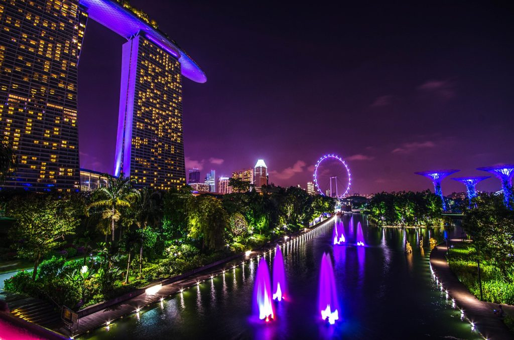View over Marina Bay of Singapore by night.