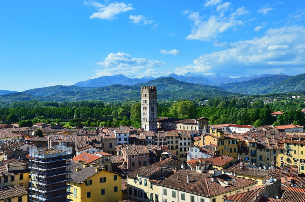 Rooftops, hills and towers of Lucca in Tuscany.